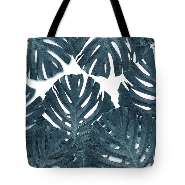 Monstera Leaf Pattern - Tropical Leaf Pattern - Blue - Tropical, Botanical - Modern, Minimal Decor Tote Bag