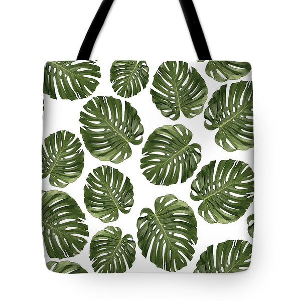 Monstera Leaf Pattern - Tropical Leaf Pattern - Green - Tropical, Botanical - Modern, Minimal - 1 Tote Bag