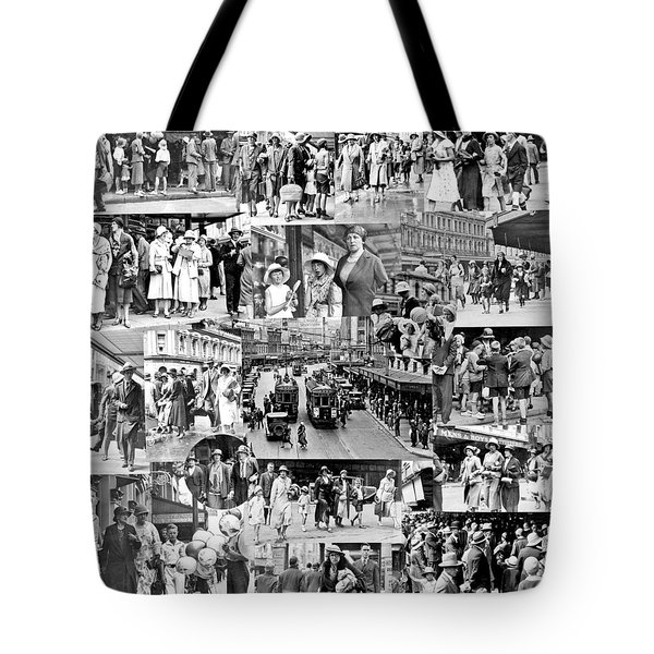Montage Of Photographs Depicting 1932 Christmas Shopping Crowds In Wellington  24 December 1932 Tote Bag