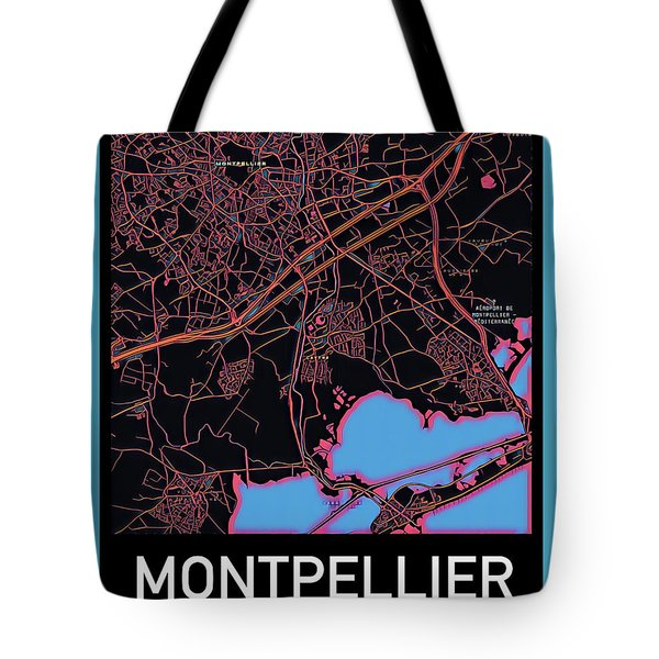 Montpellier City Map Tote Bag