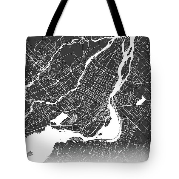 Montreal Map Black And White Tote Bag