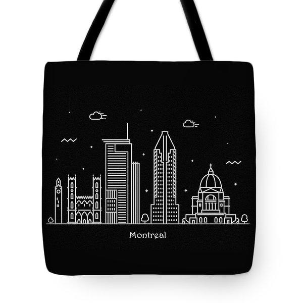 Montreal Skyline Travel Poster Tote Bag