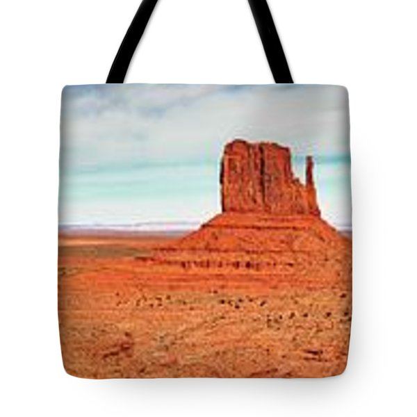 Tote Bag featuring the photograph Monument Valley Panorama by Andy Crawford