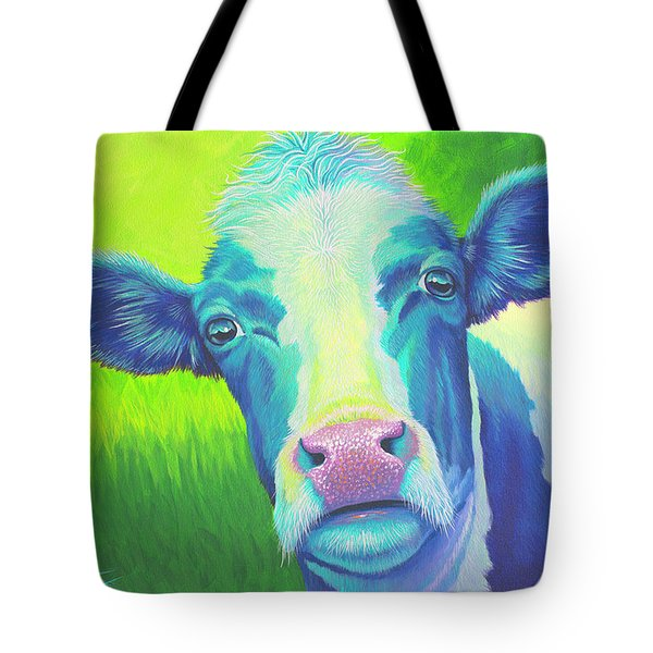 Moo Now Blue Cow Tote Bag