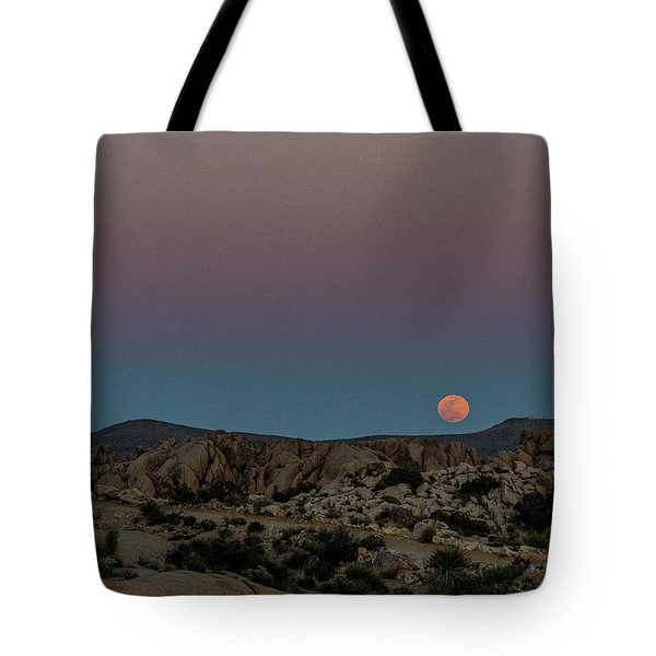 Tote Bag featuring the photograph Moon Above Joshua Tree by Matthew Irvin