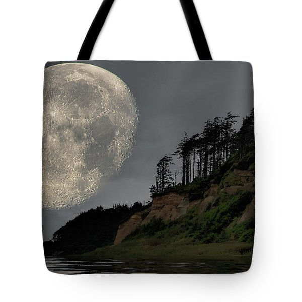 Tote Bag featuring the photograph Moon And Beach by Bob Cournoyer