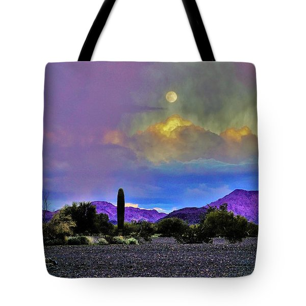 Moon At Sunset In The Desert Tote Bag