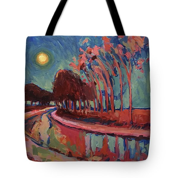 Moon Night At The Canal Tote Bag