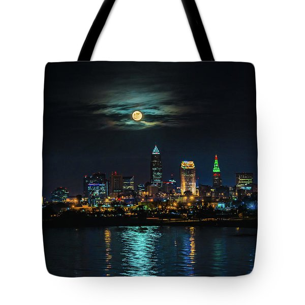 Moon Over Cleveland  Tote Bag