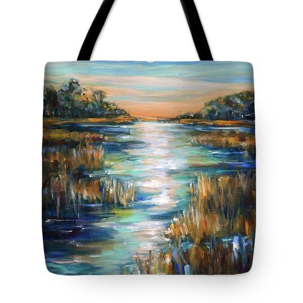 Moon Over Waterway Tote Bag