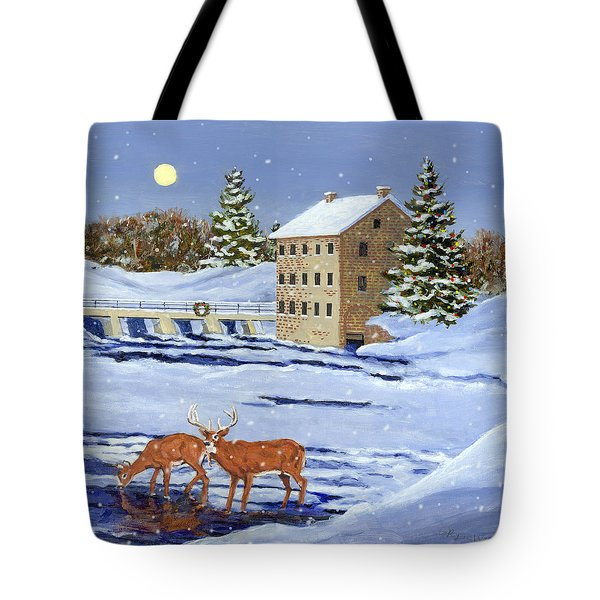 Moonlight Millpond Whitetails Tote Bag