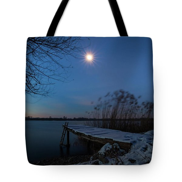 Tote Bag featuring the photograph Moonlight Over The Lake by Davor Zerjav