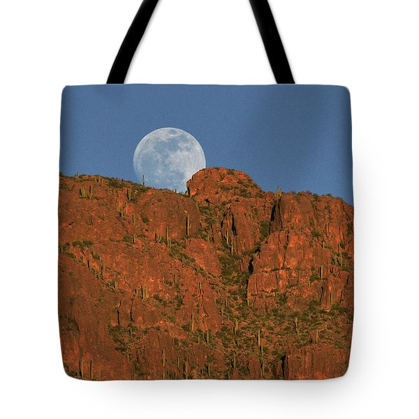 Moonrise Over The Tucson Mountains Tote Bag