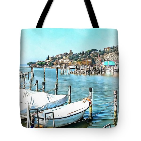 Tote Bag featuring the photograph Moored Boats At Passignano by Dorothy Berry-Lound