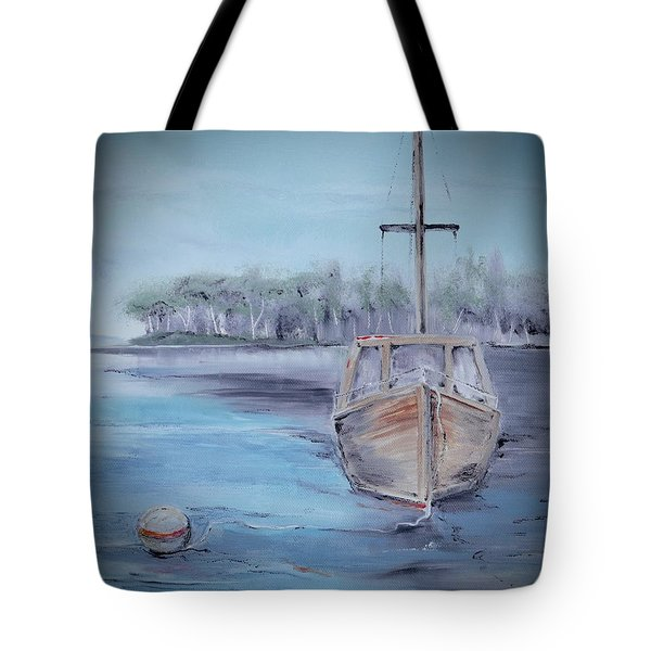 Moored Sailboat Tote Bag