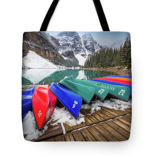 Moraine Lake Canoes Tote Bag
