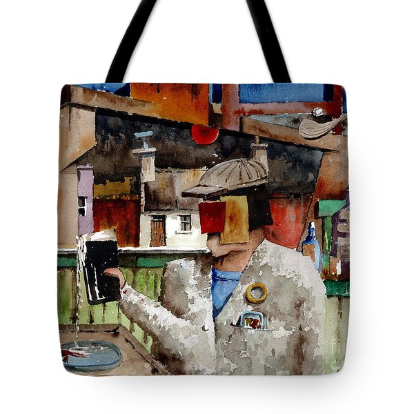 Tote Bag featuring the painting More Thro The Window On The World by Val Byrne