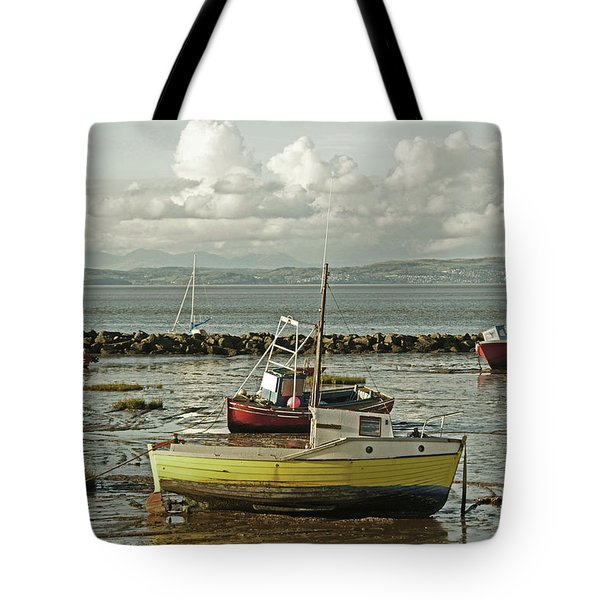 Morecambe. Boats On The Shore. Tote Bag