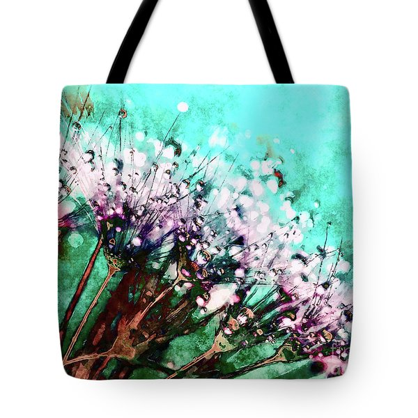 Morning Dew On Dandelions Tote Bag