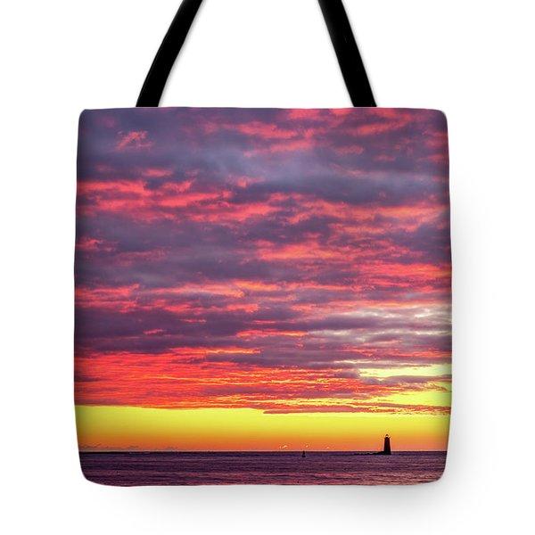 Morning Fire Over Whaleback Light Tote Bag