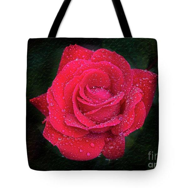 Morning Mist On Red Rose Tote Bag