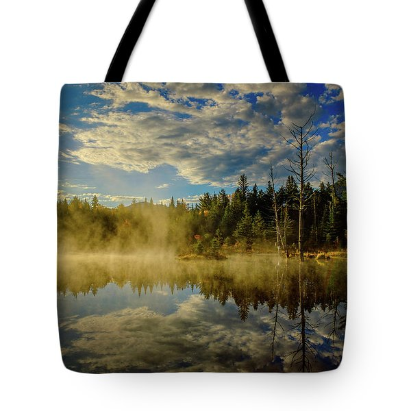 Morning Mist, Wildlife Pond  Tote Bag