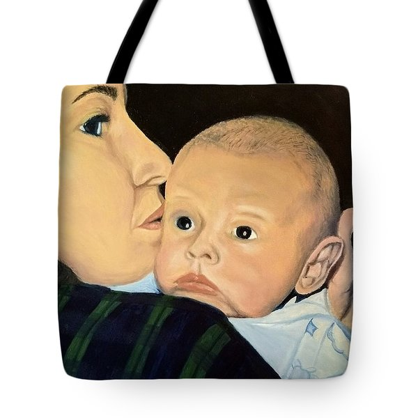 Tote Bag featuring the painting Mother And Son by Kevin Daly