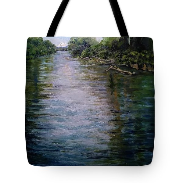 Tote Bag featuring the painting Mount Baker Peekaboo View From Lowell Riverfront Trail by J Reynolds Dail