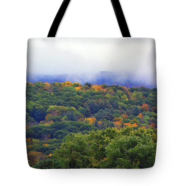 Tote Bag featuring the photograph Mount Greylock In The Clouds by Raymond Salani III