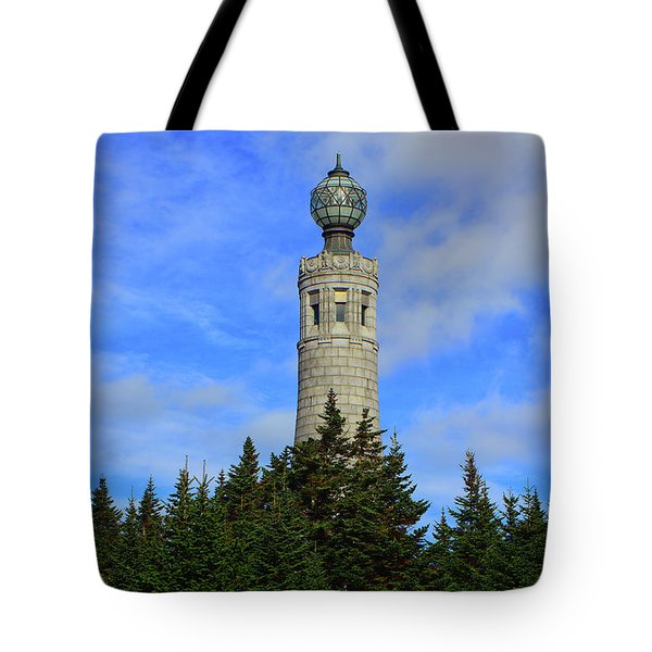 Tote Bag featuring the photograph Mount Greylock Tower From Bascom Lodge by Raymond Salani III