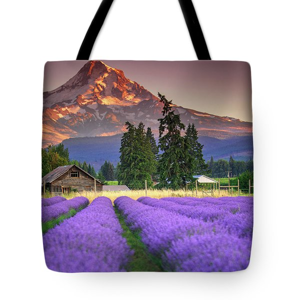 Mount Hood Lavender Field  Tote Bag