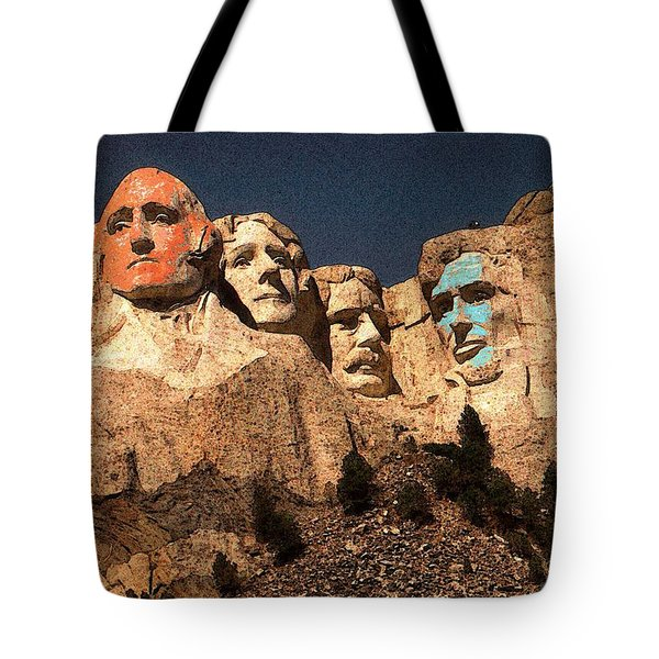 Mount Rushmore Red And Blue Drawing Tote Bag