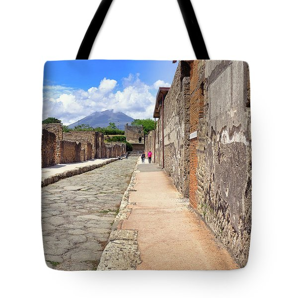 Mount Vesuvius And The Ruins Of Pompeii Italy Tote Bag