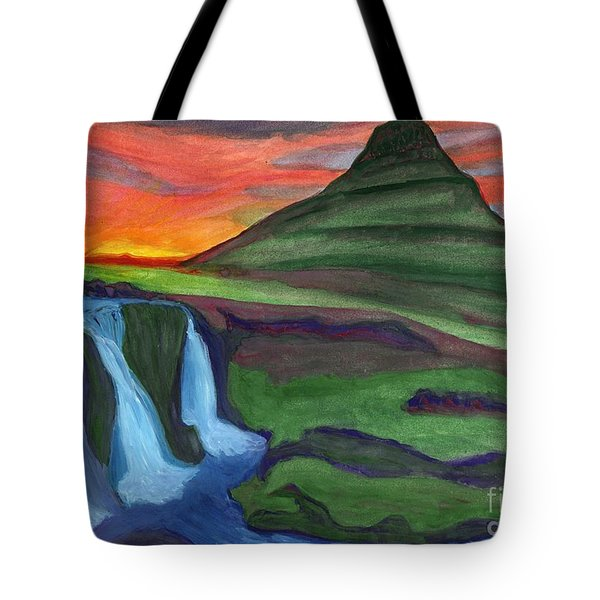 Mountain And Waterfall In The Rays Of The Setting Sun Tote Bag