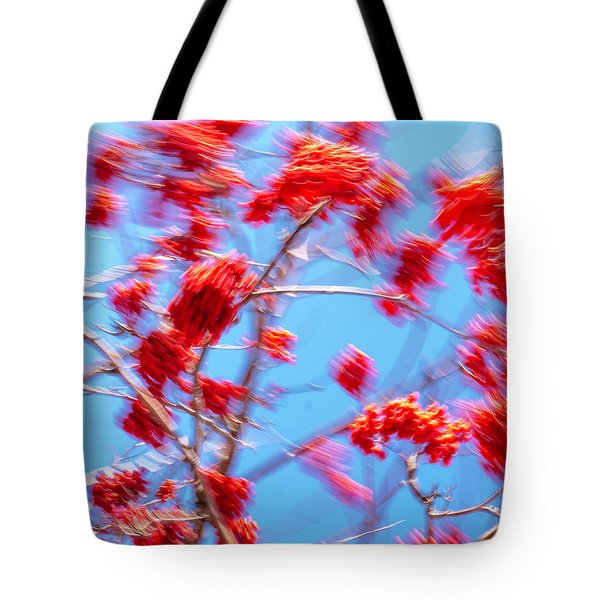 Mountain Ash Tree With Berries In Very Strong Wind Tote Bag