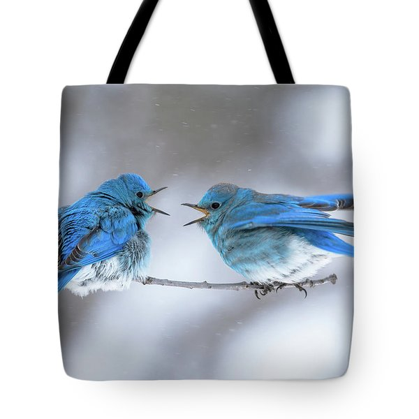 Mountain Bluebirds On A Snowy Day Tote Bag