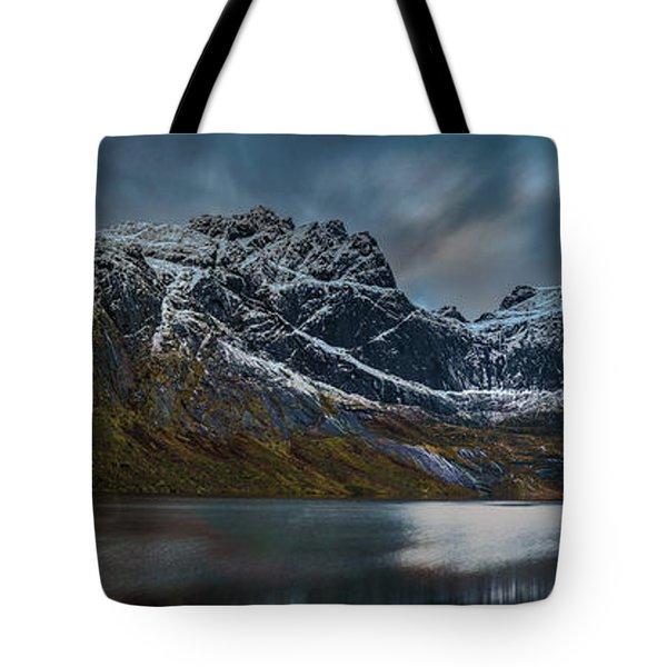 Mountain Lake In Norway On Lofoten Near Nusfjord Tote Bag