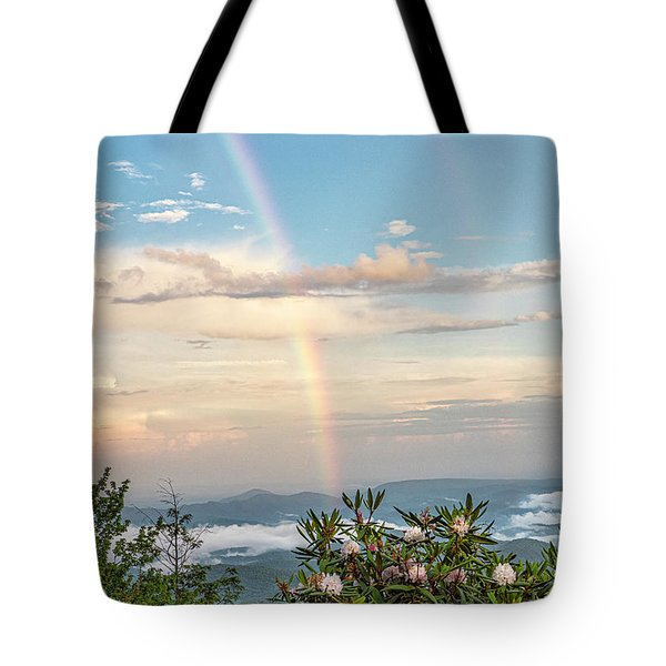 Tote Bag featuring the photograph Mountain Rainbow Vertical by Ken Barrett