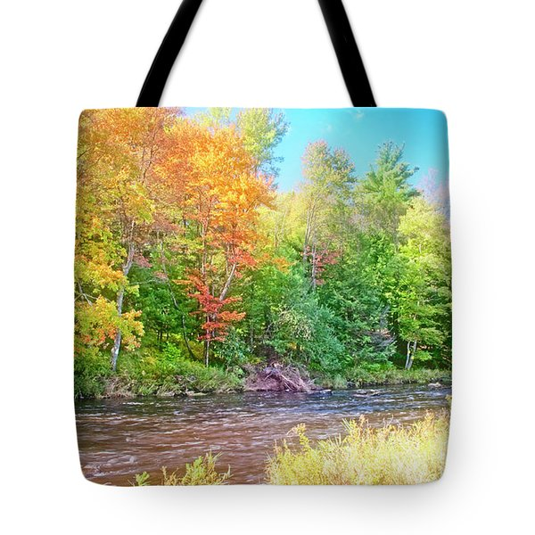 Mountain Stream In Early Autumn Tote Bag