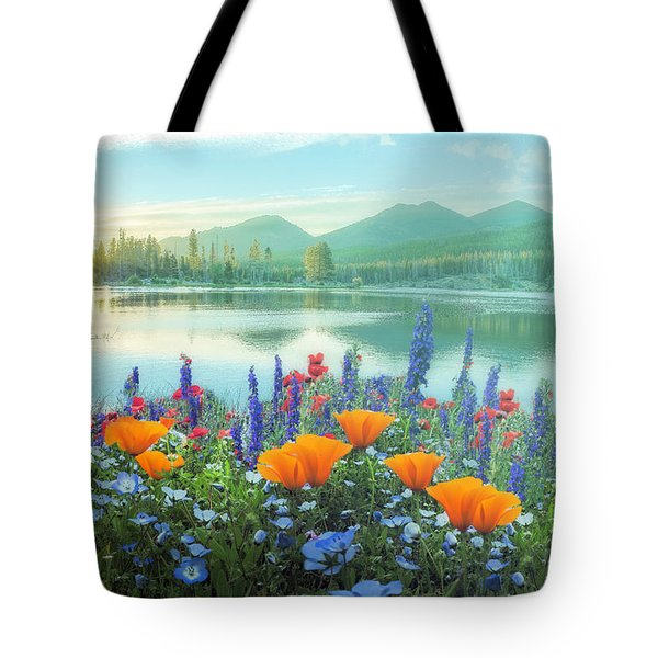 Mountain Summer Blooms Misty Morning Tote Bag