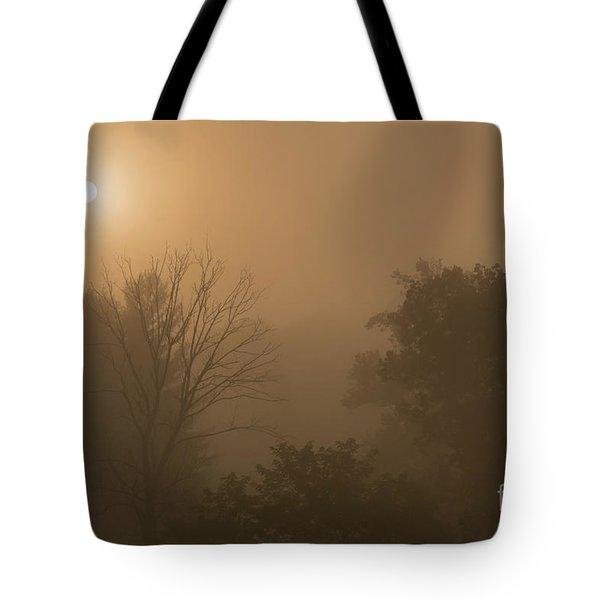 Mountain Sunrise Misty Morning Tote Bag