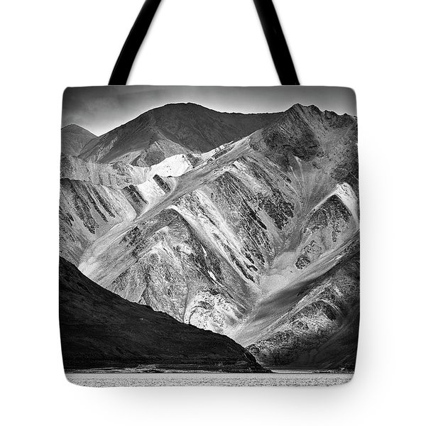 Tote Bag featuring the photograph Mountains At Pangong by Whitney Goodey