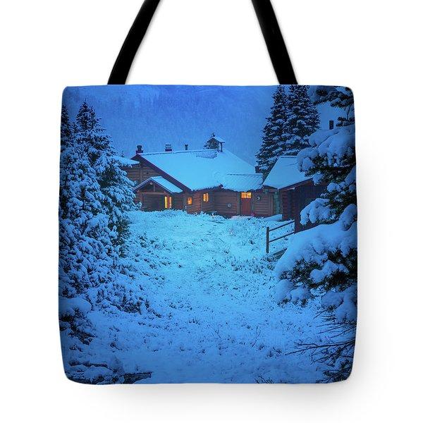 Mt Assiniboine Lodge At  Night Tote Bag