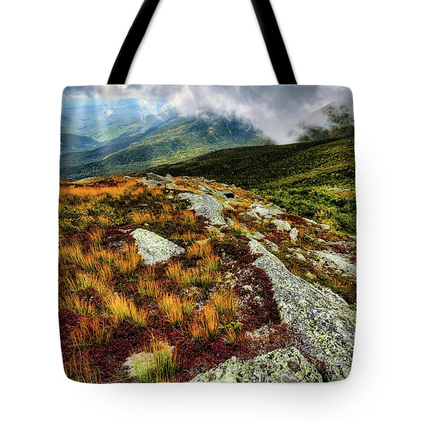 Tote Bag featuring the photograph Mt. Washington Nh, Autumn Rays by Michael Hubley