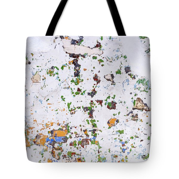 Tote Bag featuring the photograph Multicolored Vintage Painted Wall by Tim Hester