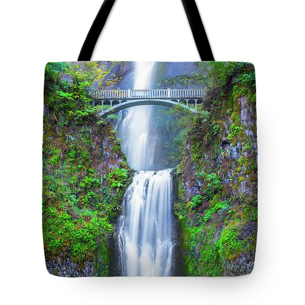 Tote Bag featuring the photograph Multnomah Falls by Dheeraj Mutha