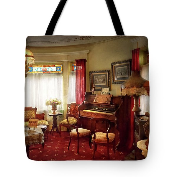 Tote Bag featuring the photograph Music - Organ - In The Parlor by Mike Savad