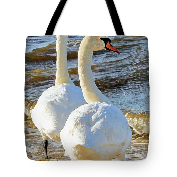 Mute Swans Getting Ready For Take Off Tote Bag