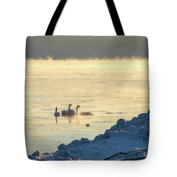 Mute Swans Singing In The Cold Tote Bag