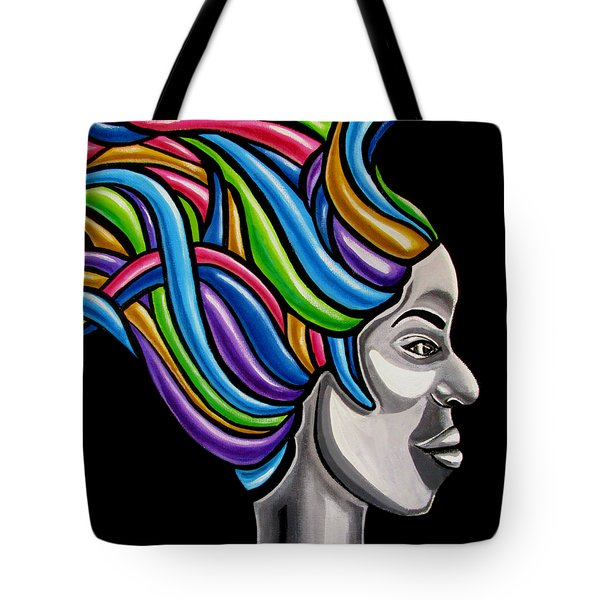 Colorful Abstract Black Woman Face Hair Painting Artwork - African Goddess Tote Bag